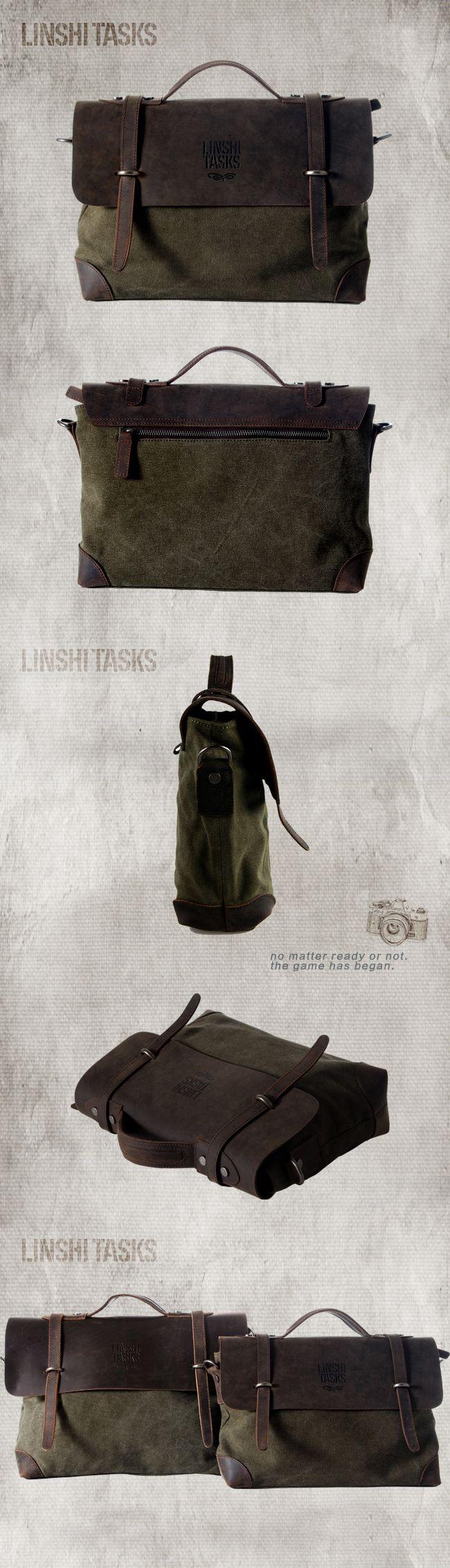 Очень интересный мужской портфель от бренда LINSHI TASKS в зелено-коричневых оттенках. Прочный брезент, натруальная кожа, качественная металлическая фурнитура.  Купить его вы сможете тут - http://linshitasks.ru/kozhanye-muzhskie-portfeli/delovoj-portfel-iz-kozhi.html