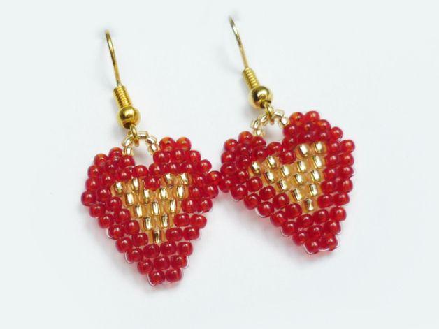 Serduszka rubinowo-złote - Projektownia - Kolczyki #brickstitch #heart #earrings