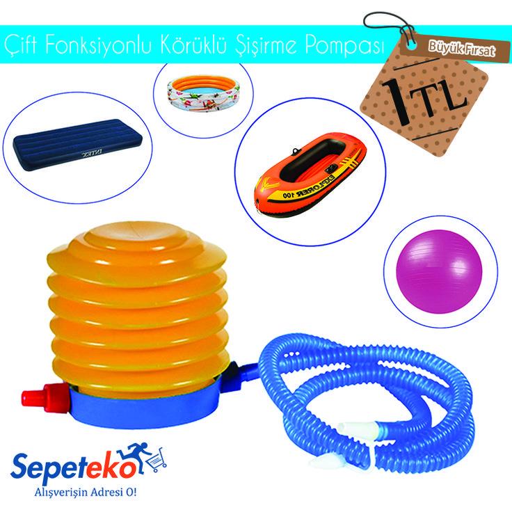 Çift Fonksiyonlu Körüklü Şişirme Pompası - 1 TL. Şişme Yatak, Bot, Pilates Topu vb. Ürünler İçin Rahatlıkla Kullanabileceğiniz Harika Bir Ürün! Ürünü İncele >> http://www.sepeteko.com/cift-fonksiyonlu-koruklu-sisirme-pompasi
