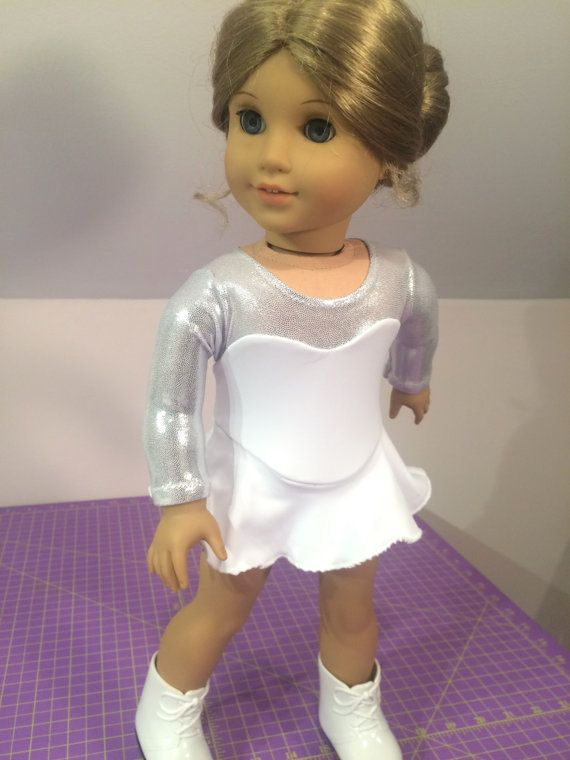 """AdorablyDolly made this stunning, snowy white American Girl size Ice Skating Dress, Figure Skating Outfit for 18"""" Dolls using Lee & Pearl Pattern #1055: Skating Dress for 18"""" Dolls, available in our Etsy store at https://www.etsy.com/listing/179931138/lp-pattern-1055-skating-dresses-for-18"""