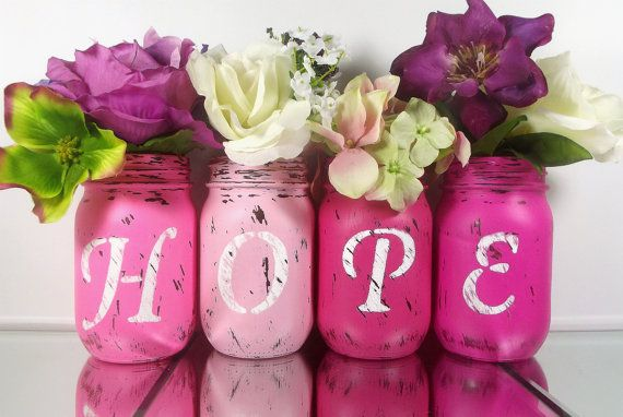 DYI for the home. Etsy listing at https://www.etsy.com/listing/205182195/four-pink-jars-hope-set-of-hand-painted