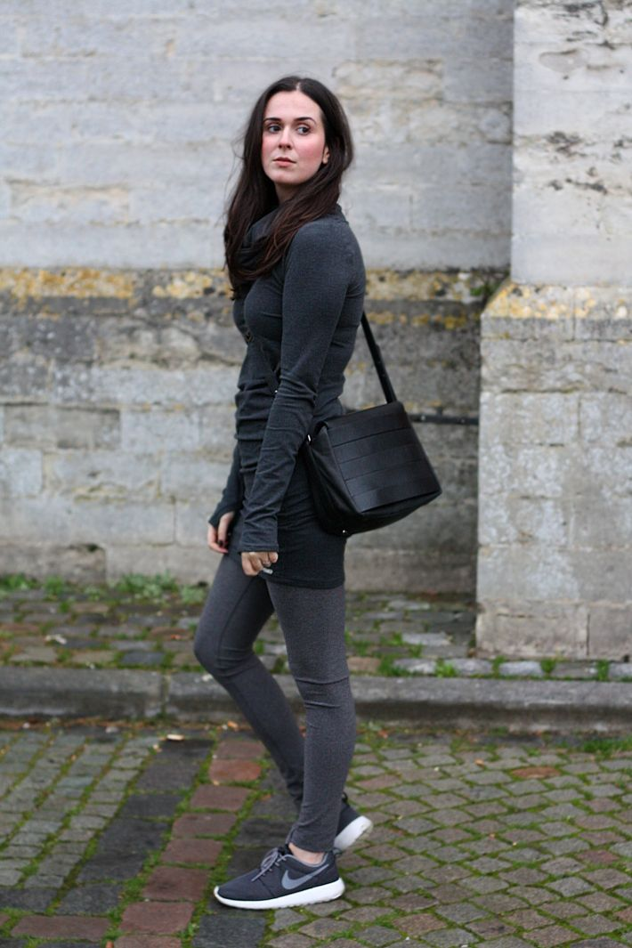 feminine casual outfit: bench sweater dress, leggings ...