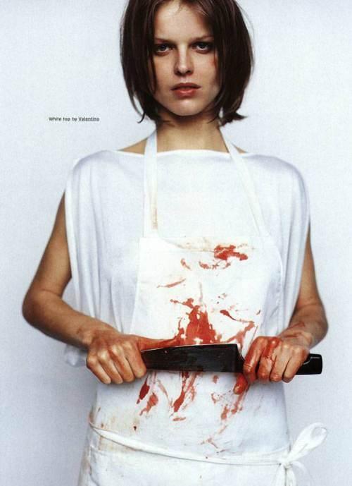 Mario Testino et Carine Roitfeld, The butcher, The Face, 1997