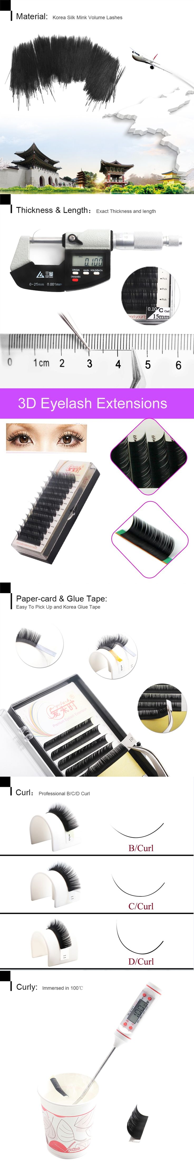 All Sizes Eyelash Extension Natural Long soft Hand Made Korean Heat Resistant 3D Individual Eyelash Extension With Free Shipping