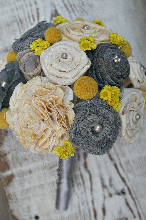 Handmade Yellow & Grey Alternative Wedding Bouquet by TheSunnyBee