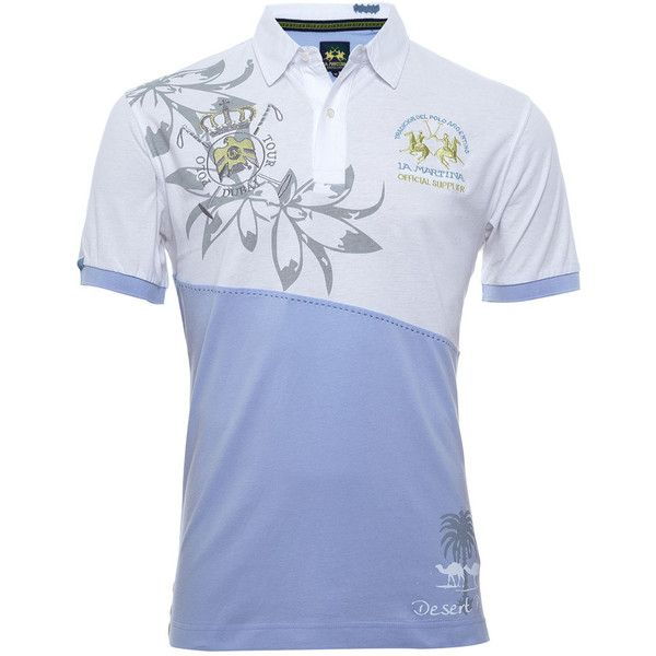 Dubai Polo Shirt (€85) found on Polyvore featuring women's fashion, tops, men, la martina, short sleeve polo shirts, patterned polo shirts, print top and blue top