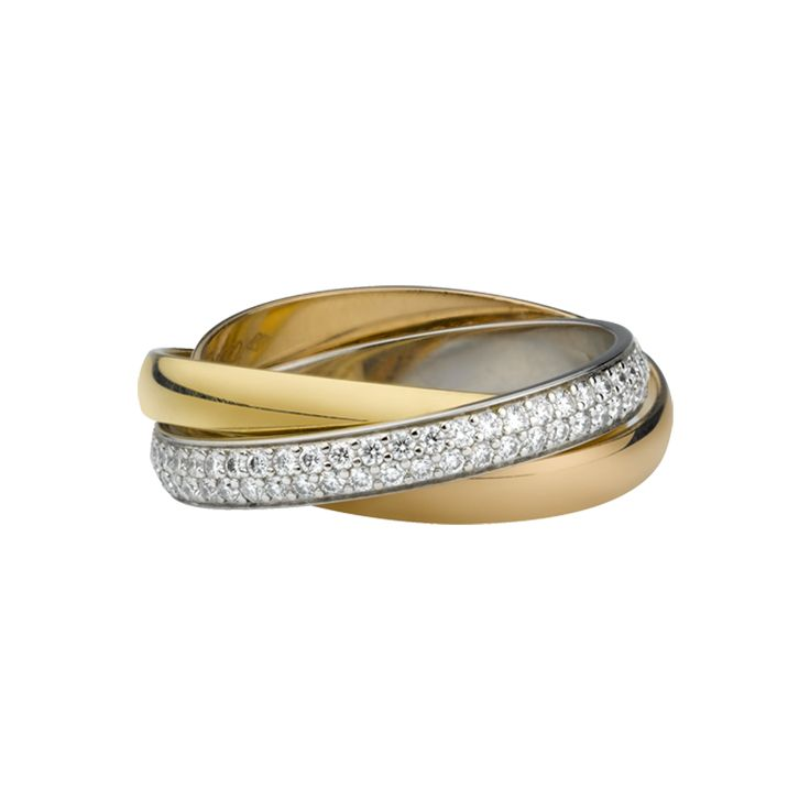 Trinity ring - 3-gold, diamonds - Fine Wedding Bands for women - Cartier