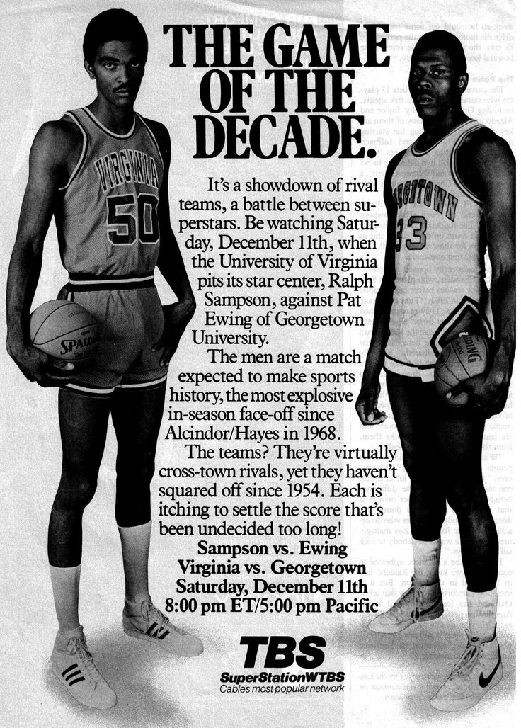 "1982 The Game if The Decade. Before the ""One-and-done"" years of College Basketball. Virginia's Ralph Sampson vs Georgetown's Patrick Ewing. These are the type of games that are missing in today's college game. #NCAA #GoodOleDays"