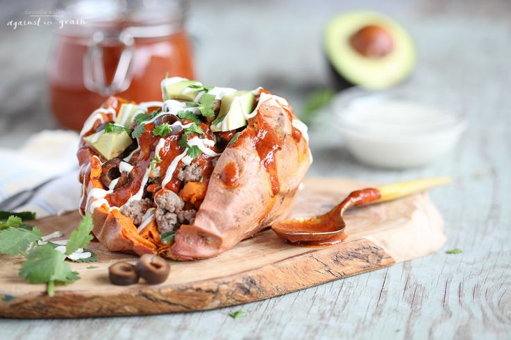 Enchilada Stuffed Sweet Potatoes | Danielle Walker's Against all Grain | #paleo #glutenfree #grainfree #dairyfree #quickdinner