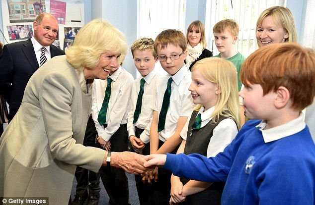 The Duchess of Cornwall meets local school children during her two-day visit to Northern Ireland.