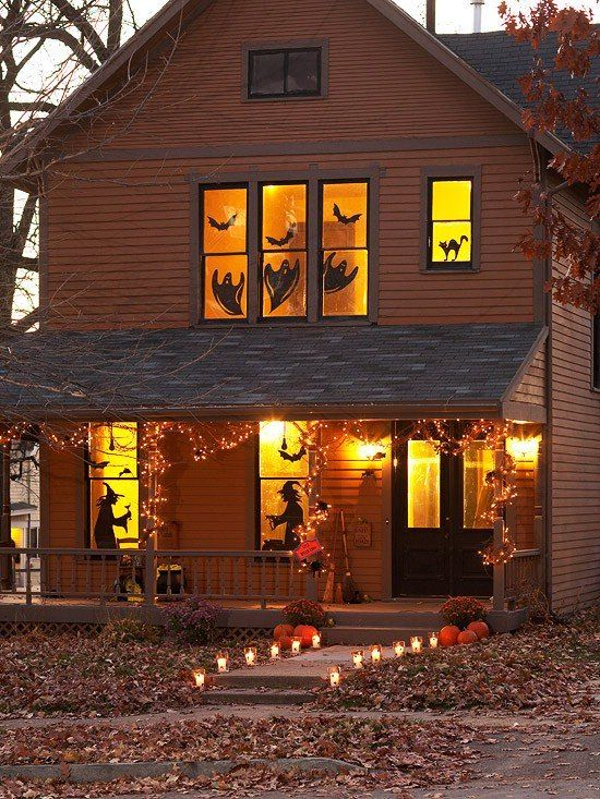 Window Silhouettes - the witches are so awesome and the lanterns up the walkway: Halloween Decorations, Holiday, Halloween Window, Halloween Fall, Fall Halloween, Windows, Halloween Ideas, Halloween Party