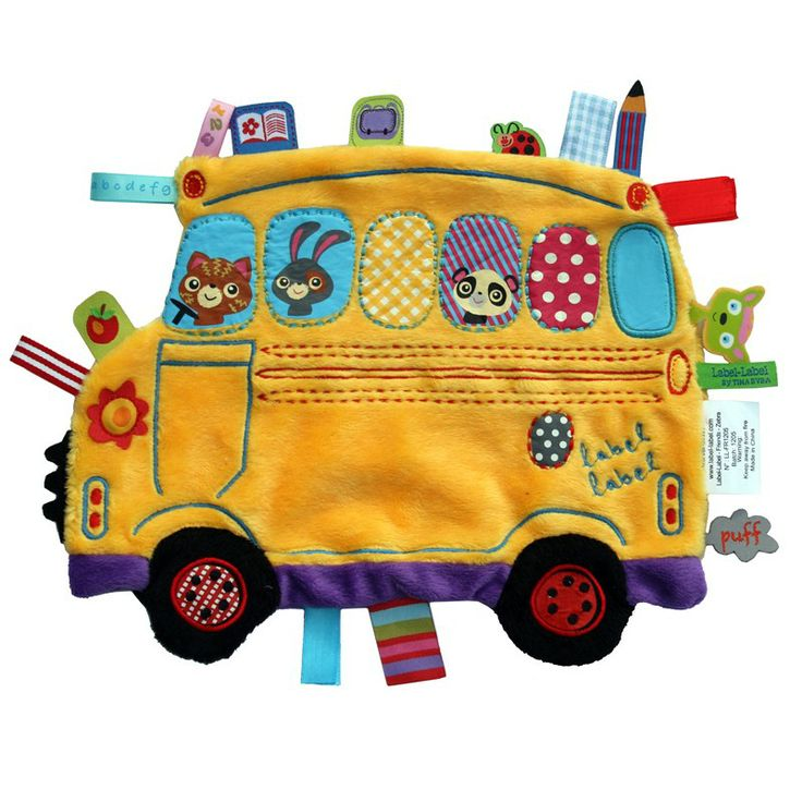 Przytulanka kocyk z metkami Label Label - Autobus