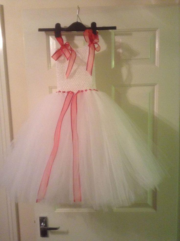 Handmade White & Red Tutu Dress age 3-6 years.  Christmas Fancy dress