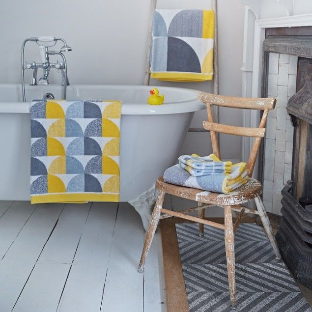Scallop towels in Yellow by Lindsey Lang