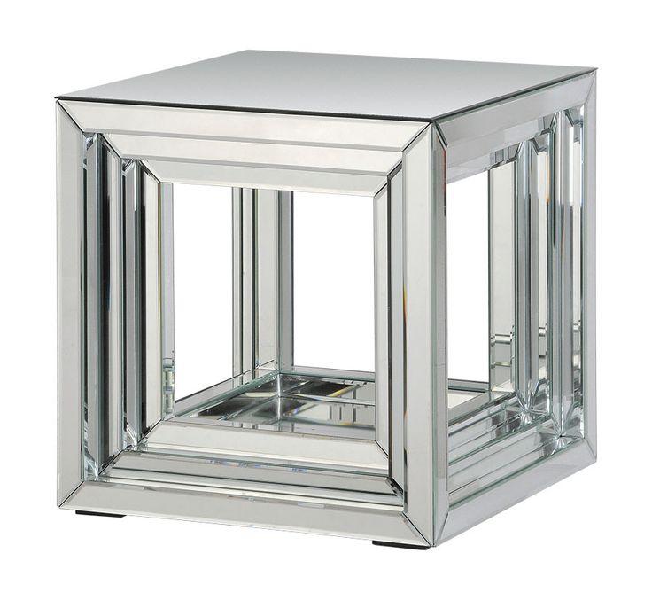 Ren-Wil Mirrored Side Table TA032   Bathrooms Decor and More     Bathrooms Decor And More
