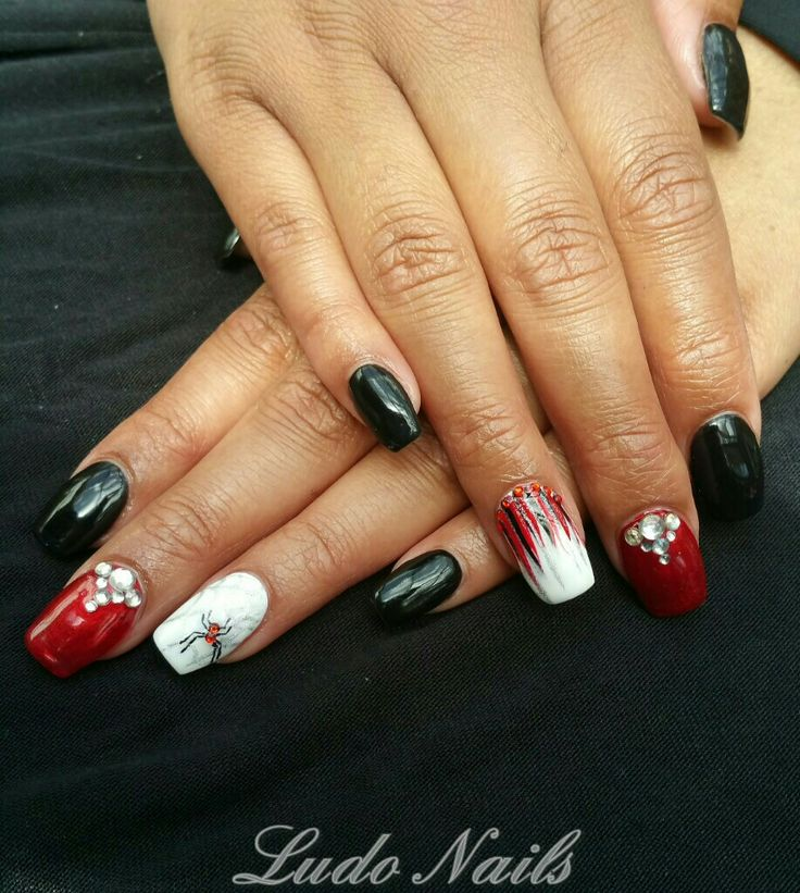 Red, Black, White and Spider Nail Art