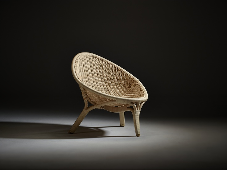 """Photo: Skovdal.dk  Scandinavia's oldest supplier of wicker furniture Sika-Design relaunches Nanna Ditzel´s 3-legged wicker chair """"Rana"""" from 1951. In a time with high demand on sustainable design furniture the wicker chair fits perfectly. The chair has just been honoured with the label Interior Innovation Award – Selection 2013 www.sika-design.com"""