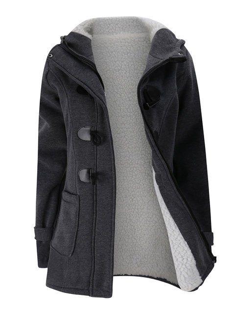 030bb2b8098 Women Horn Button Coton Fleece Hooded Duffle Coat