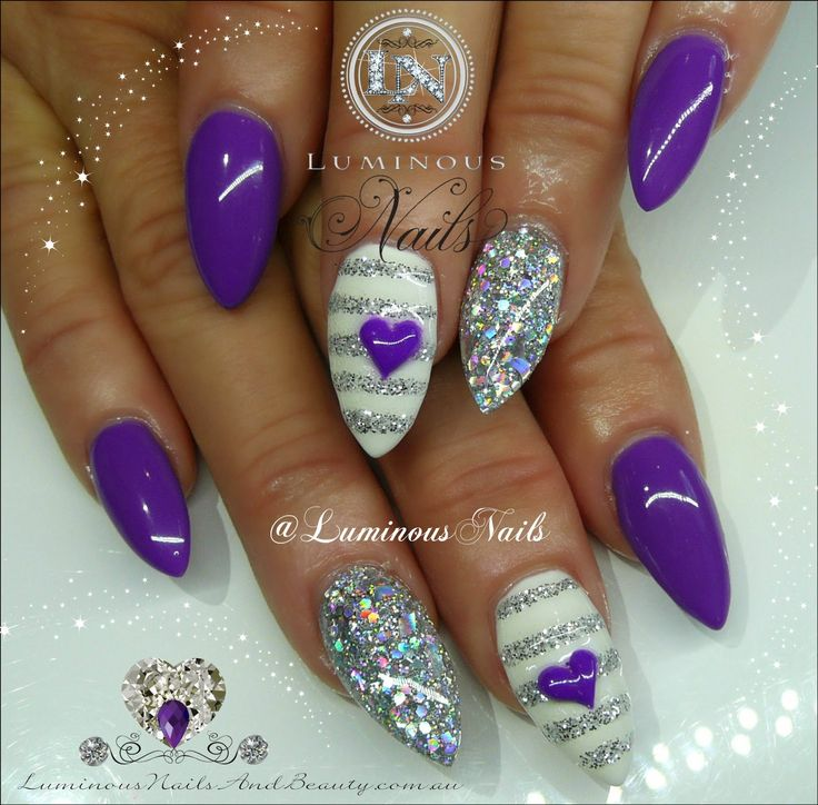 Purple, Silver & White Nails... Sculptured Acrylic with ...
