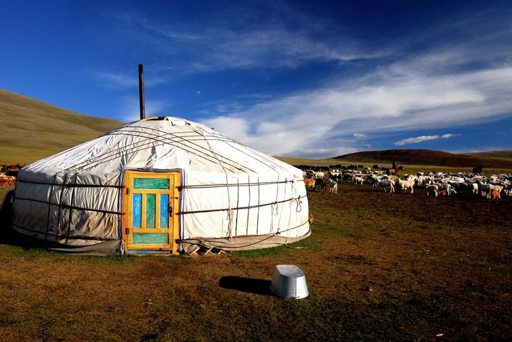 Mongolian Yurt (ger) with green door - a sheepherder's tent.