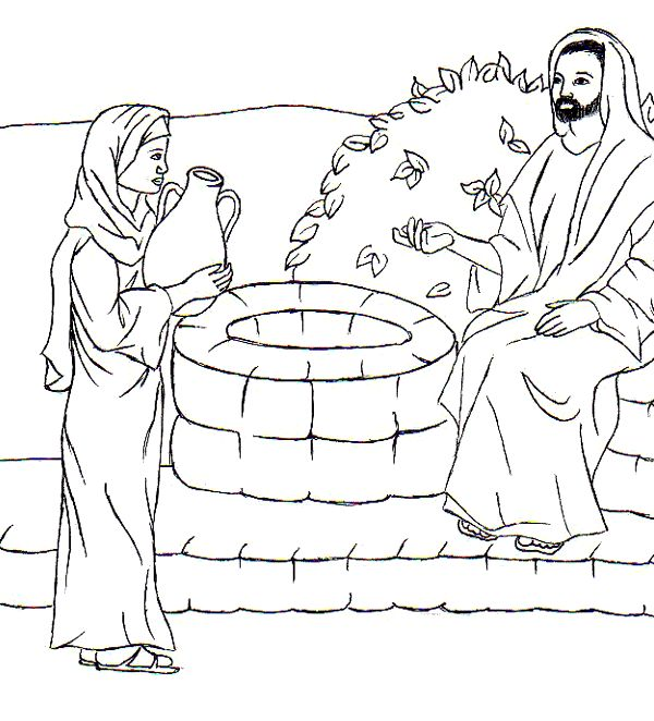 samaritan woman at well story coloring picture in 2020