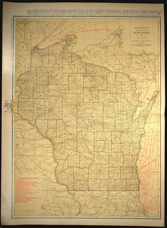 Wisconsin Map EXTRA LARGE Wisconsin Railroad Map Wall Art   Map Wall ...