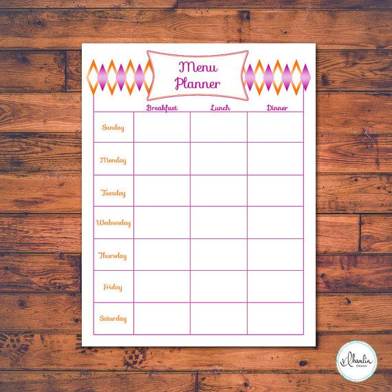 Raspberry and Orange Sorbet Menu Planner by VLHamlinDesign on Etsy