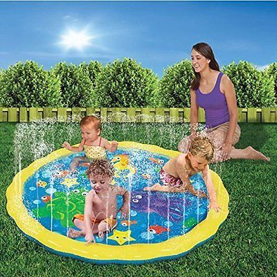 Inflatable toddler garden sprinkle splash play mat water for Garden pool mats