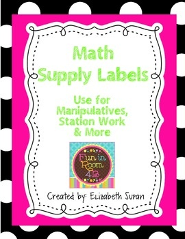 Organizing Math Manipulatives Made Easy:Use these labels to create a more organized math cabinet.  The labels all have a black and white po...