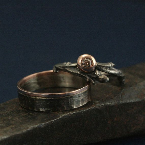 Rustic Woodland Wedding Set - Twig Ring set with Champagne Diamond in Rose Gold - Wedding Ring Set - Nature Inspired Wedding Band Set