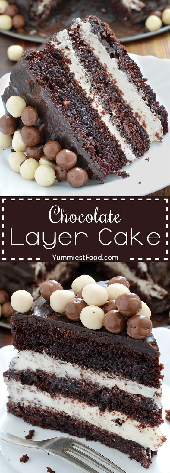 Chocolate Layer Cake with Cream Cheese Filling - perfect combination of chocolate and cheese