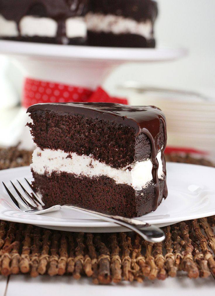 Tuxedo Cake is the little-black-dress of cakes! Simple, yet elegant with moist chocolate layers, whipped cream and a finish of dark chocolate ganache.
