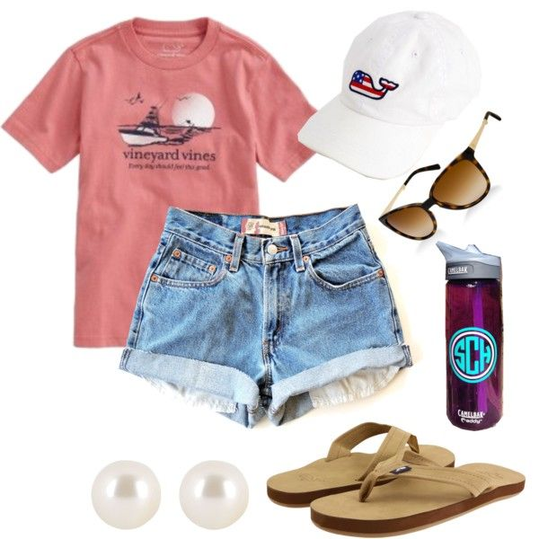Love love love this vineyard vines hat and shirt with monogrammed water bottle and pearl earrings.
