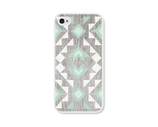 Geometric Apple iPhone 5 Case - Plastic iPhone 5 Cover - Wood Tribal Southwest iPhone Case Skin - Mint Green Brown White Cell Phone For . $18.00, via Etsy.