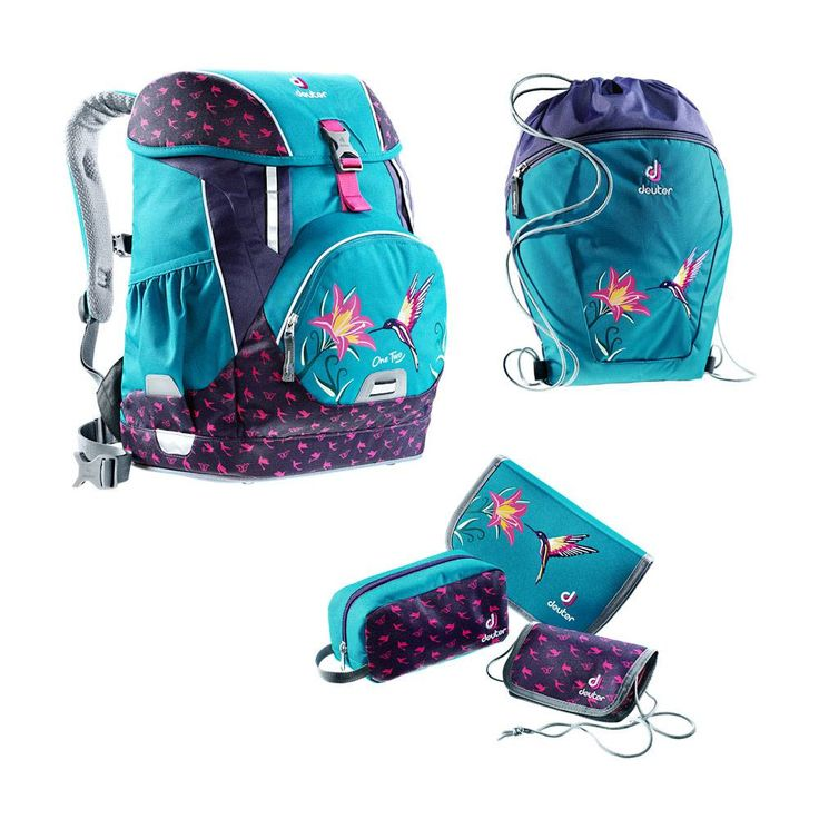Deuter Schulrucksack Set 5tlg OneTwo Sneaker Bag Petrol Bird #Schulranzen #Ranzen #Schulanfang #Einschulung