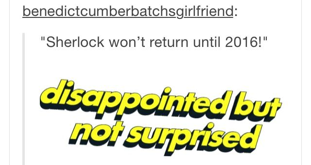 """Pretty much. There should be a new term for any show with long hiatus times. Soon we'll be saying, """"They Sherlocked my show. New episodes two years from now."""""""