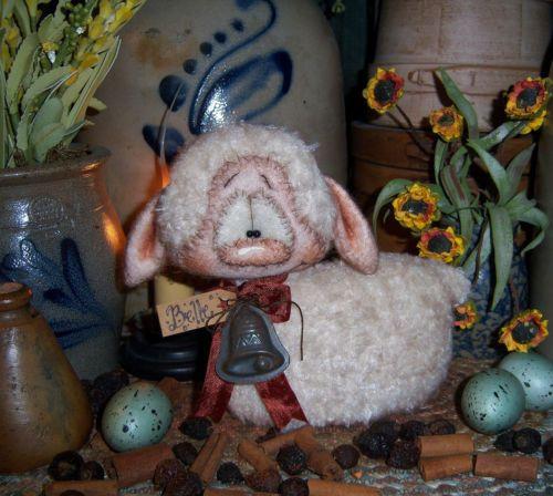 "Primitive Fuzzy Sheep 5"" Lamb Easter Spring Doll ★ Vtg Bell Patti's Ratties Bear"