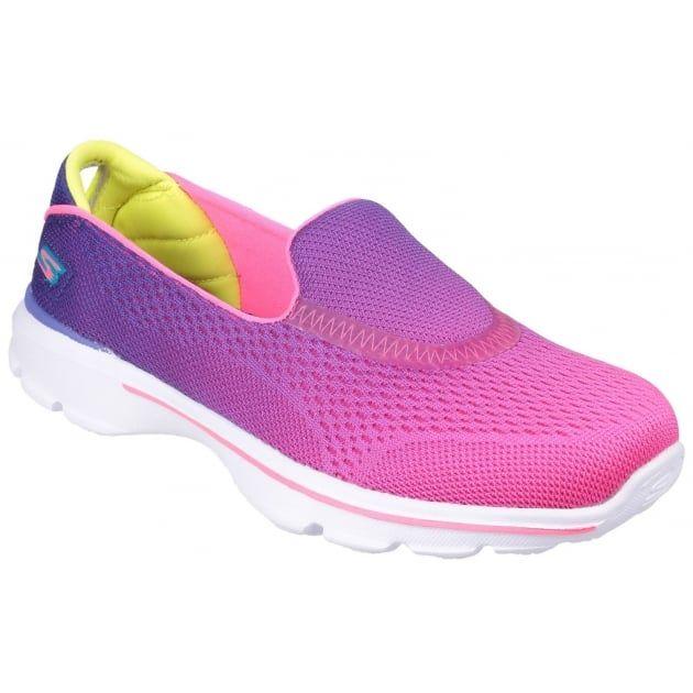 Go Walk 3 Slip On Purple/Neon Pink
