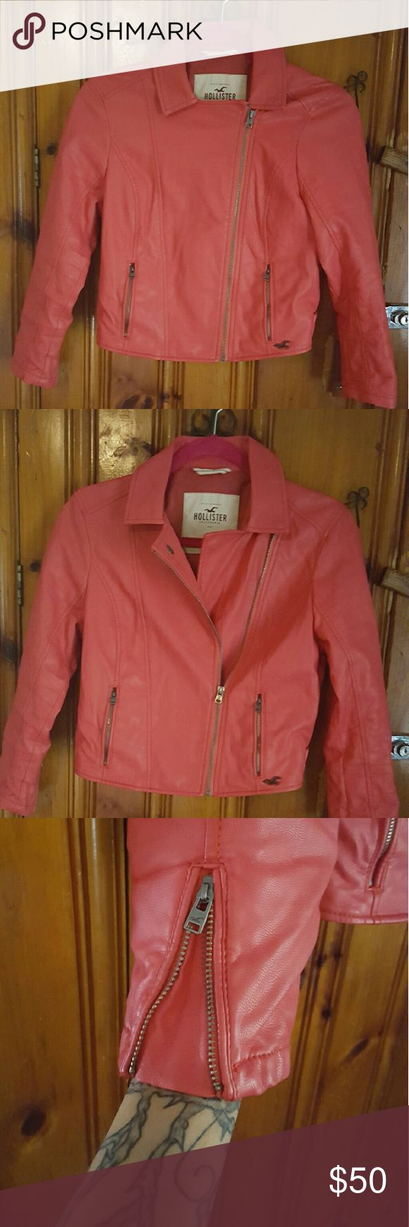 Hollister jacket Like new hollister jacket  beautiful coral color. Size M but fits like a small size. Hollister Jackets & Coats
