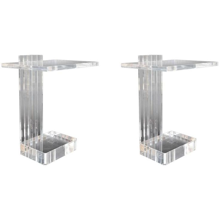 Pair of Acrylic Side Tables by Les Prismatiques | From a unique collection of antique and modern side tables at https://www.1stdibs.com/furniture/tables/side-tables/