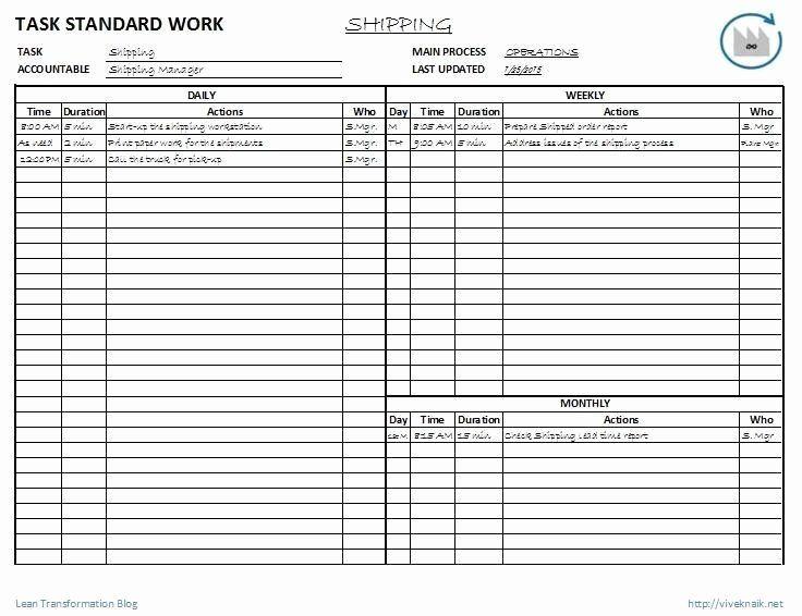 Standard Work Templates Excel Beautiful Leader Standard Work Template Marketing Plan Template Master Schedule Templates