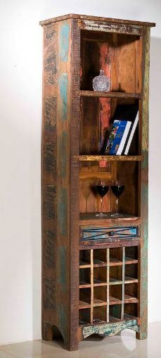Massiver XL Wein Schrank Vintage Look Recycling Holz Kommode Regal  Aufbewahrung