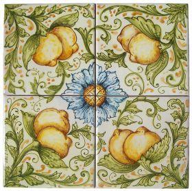 "Decorative panel ""Lemons"" of Ghenos Decorative square panel made of four majolica tiles, depicting flowers and lemons."