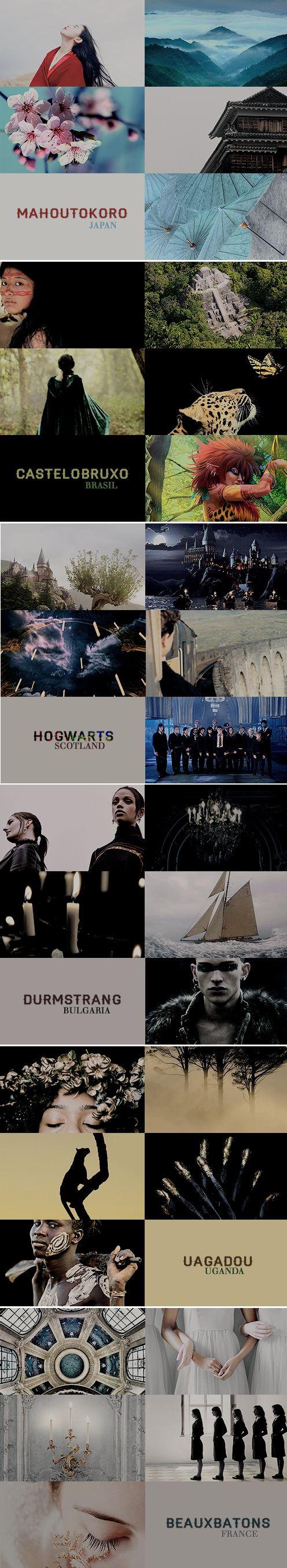 Wizarding Schools Around the World: Beauxbatons / Castelobruxo / Durmstrang / Hogwarts / Mahoutokoro / Uagadou #hp