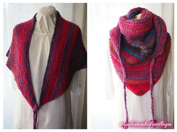 Dernière création tricotée avec la laine katia que j'affectionne toujours autant. La couleur; c'est bon pour le moral surtout lorsque le temps est à la grisaille et à la pluie! Le modèle est simple. Il faut monter 3m et faire une augmentation à chaque...