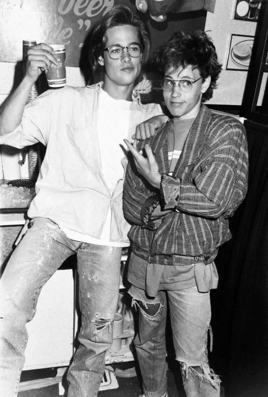Brad Pitt and Corey Haim, 1988.