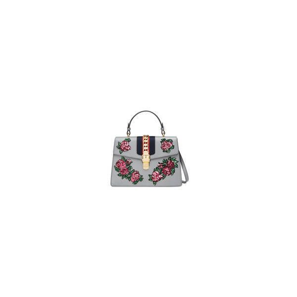 Gucci Sylvie Embroidered Leather Top Handle Bag ($3,500) ❤ liked on Polyvore featuring bags, handbags, gucci purse, gucci, top handle leather handbags, chain purse and genuine leather handbags