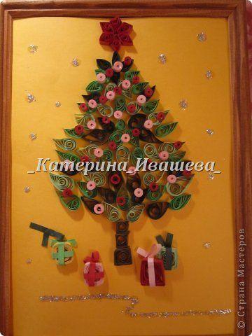Картина панно рисунок Новый год Квиллинг Новогодняя елочка Квиллинг Бумажные полосы фото 1