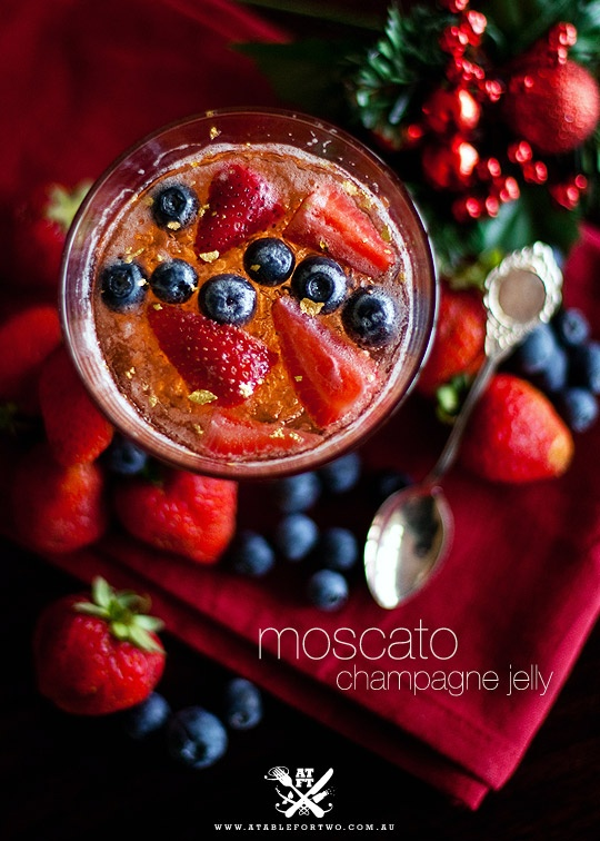 Moscato Jelly with raspberries. I think I've found my NYE dessert!