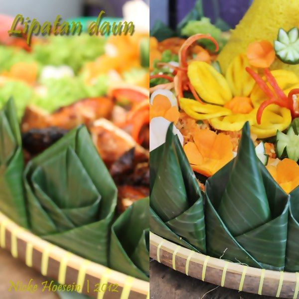 Banana leaf garnish, decorated and placed arround media of Tumpeng